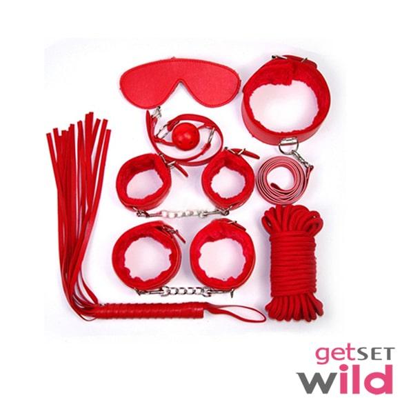 Bondage Kit Couple Fun- 7 Pieces Set (Red)