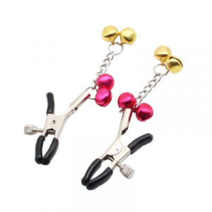 Adjustable Nipple Clamps -Soft Rubber Metal Tweezer Nipple Clamps with Gold Bell, Fetish Breast Clit Sensual Bondage Two Nipple Clip